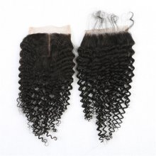Kinky Curly 4*4 Lace Closure Black Virgin Human Hair