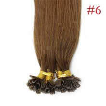 100% Human Hair Capsules #6 Brown Nail Tip Hair Silky Straight Keratin Fusion U Tip Hair Extensions 100s/lot