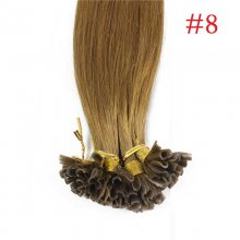 100% Human Hair Capsules #8 Brown Nail Tip Hair Silky Straight Keratin Fusion U Tip Hair Extensions 100s/lot