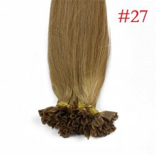 100% Human Hair Capsules #27 Honey Blonde Nail Tip Hair Silky Straight Keratin Fusion U Tip Hair Extensions 100s/lot