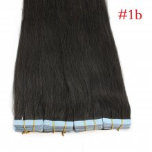 40pcs 100g PU Tape #1b Black Brazilian Human Virgin Remy Hair Extensions