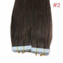 40pcs 100g PU Tape #2 Dark Brown Brazilian Human Virgin Remy Hair Extensions