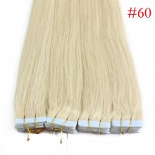 40pcs 100g PU Tape #60 Blonde Brazilian Human Virgin Remy Hair Extensions