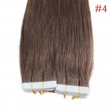 40pcs 100g PU Tape #4 Dark Brown Brazilian Human Virgin Remy Hair Extensions
