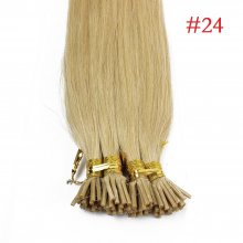 1g/s 100g #24 Natural Blonde Pre-bonded Keratin Stick I-tip Human Hair Extensions