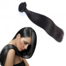 Peruvian Virgin Human Hair Weave Natural Black Silky Straight
