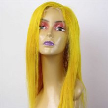 Luxury Custom Yellow 100% Superior Human Remy Hair Lace Front Wigs