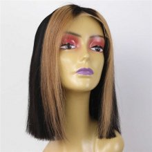 Luxury Custom Highlight Blonde Strands Black Lace Front Wig Human Remy Hair Superior Quality