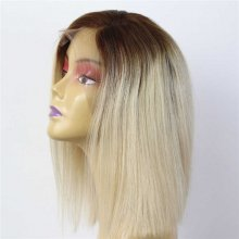 Luxury Custom Dark Roots Light Blonde Lace Front Wig Human Remy Hair Superior Quality