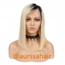 Luxury Custom Ombre Black Light Blonde Lace Front Wig Human Remy Hair Superior Quality