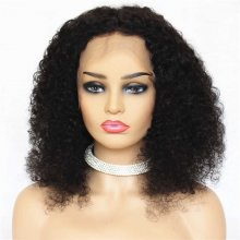Natural Black Curly Human Remy Hair Realistic Lace Front Wigs