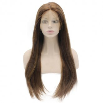 Highlight Brown Straight Brazilian Human Hair Lace Wigs