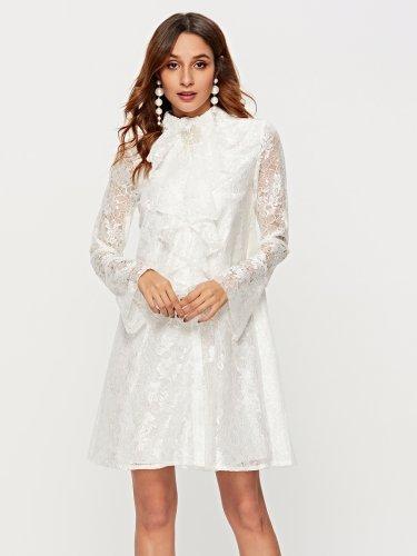 b80d984905a1b6 Ruffle Flare Sleeve Beaded Lace Dress
