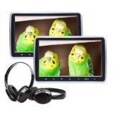 ヘッドレストモニター HDMI 2台 DVDプレイヤー +ワイヤレスヘッドホン セット (C1100AJ)