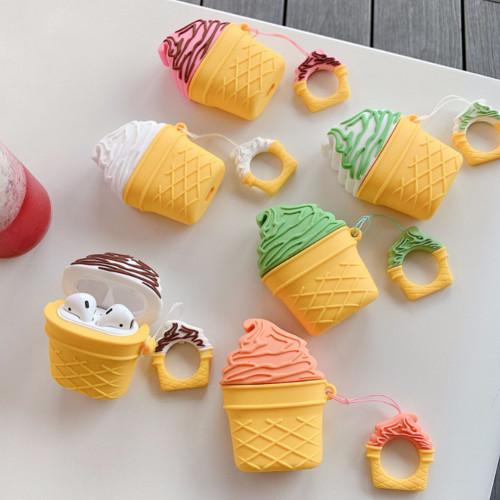 아이스크림형 AirPods 무선 이어폰 실리콘 수납 케이스