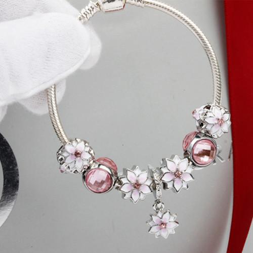핑크 목련꽃 묘안석 스네이크 사슬 팔찌