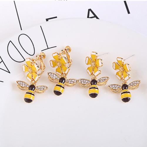 국화 꿀벌 모양 지르콘 S925 은침 귀걸이