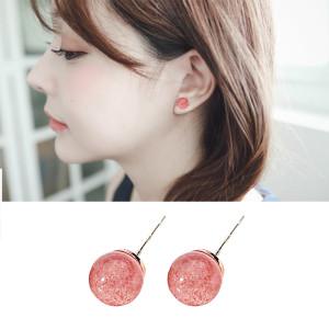 천연 딸기 크리스탈 S925 은침 귀걸이
