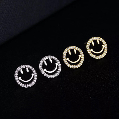 웃는 얼굴 S925 귀걸이 심플한 디자인 피어싱