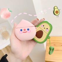 귀여운 캐릭터 에어팟 케이스 아보카도 딸기 복승아 실리콘 충격방지 보호 커버