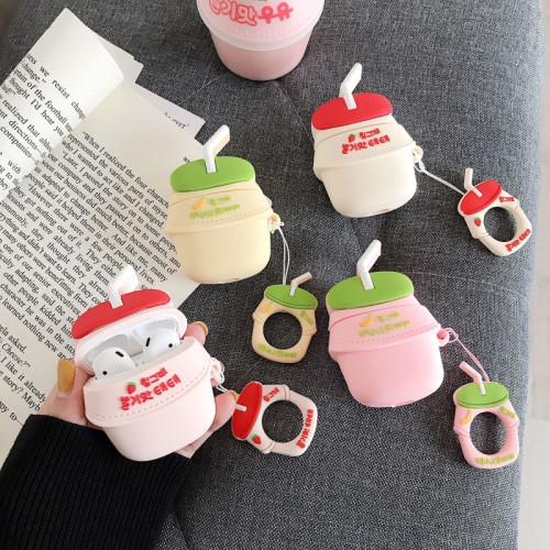 빙그레 우유 만화 에어팟  케이스 바나나 딸기 실리콘 충격방지  보호 커버