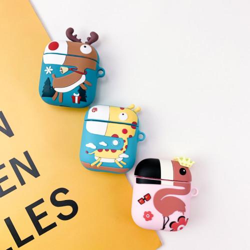 기린 플라밍고 에어팟 케이스 실리콘 3D 카툰 커버 보호 귀여운 부속품 키트