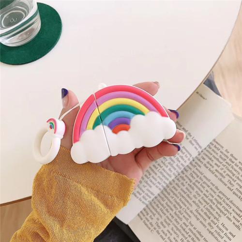 화려한 무지개 에어팟 케이스 창조적인 애플 무선 헤드폰 보호 커버