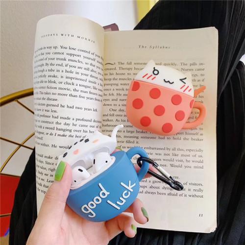 귀여운 찻잔 고양이 에어팟 케이스 만화 애플 무선 헤드폰 보호 커버