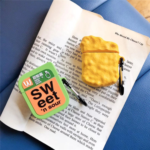 3D 식품 모델 에어팟 케이스 성격 달콤한 소스 치킨 애플 헤드폰 소프트 보호 커버