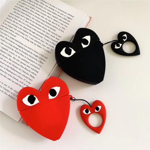 CDG PLAY 에어팟 케이스 심장 입체 실리콘 애플 무선 헤드폰 보호 커버