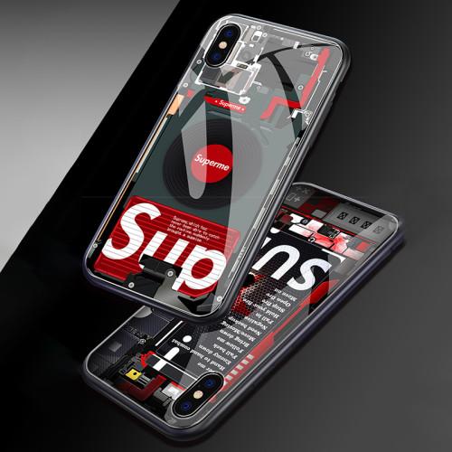 슈프림 아이폰 케이스 패션 강화 유리 애플 핸드폰 투명 보호 커버