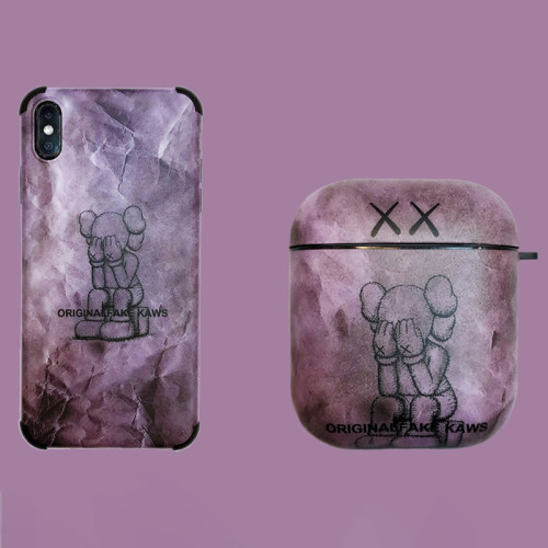 Kaws 카우스 에어팟 케이스 패션 보라색  애플 무선 헤드폰 보호 커버