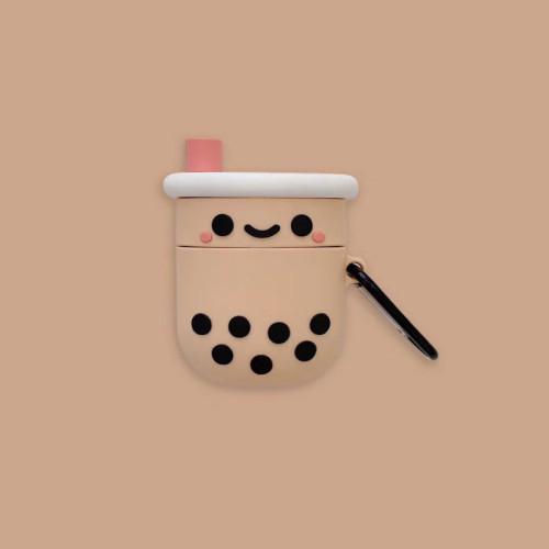 버블티 케이스 만화 미소 애플 무선 헤드폰 충격방지 실리콘  보호 커버