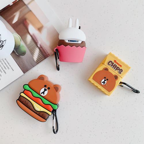 라인프렌즈 에어팟 케이스 3D 만화 실리콘 입체 애플 헤드폰 보호 커버