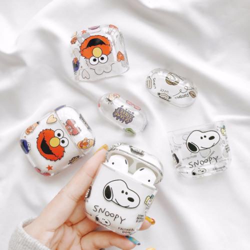 스누피 에어팟 케이스 투명 만화 패션 애플 무선 헤드폰 보호 커버