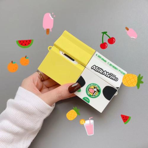 INS 바나나 밀크 에어팟 케이스 애플 카툰 귀여운 실리콘 충격방지 헤드폰 커버