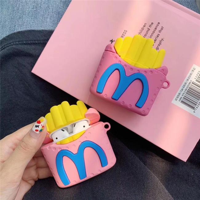 맥도날드 AirPods 케이스 재미있는 실리콘 애플 무선 블루투스 이어폰 보호 케이스