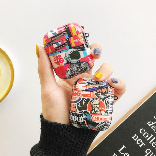 패션 에어팟 케이스 브랜드 낙서 애플 무선 헤드폰 보호 커버