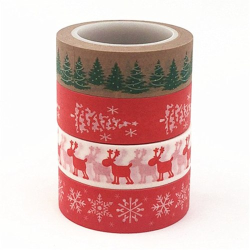 1PC Christmas Washi Tapes Snowflake Reindeer Stripes Kawaii Masking Tapes Stickers Stationery Scrapbooking School Supplies