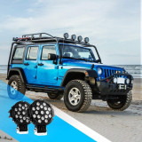 2PCS 7  51w 5100LM Black Round Spot Light Pod Off Road Fog Driving Roof Bar Bumper for Jeep,SUV Truck, Hunters, 2 years Warranty