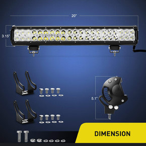 20 Inch 126w LED Work Light Spot Flood Combo Led Bar Off Road Lights Driving Lights Led Fog Light Jeep Lights Boat Lighting ,2 Years Warranty