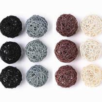 Large Wicker Rattan Balls | Decorative Balls for Bowls, Vase Filler, 3.5 Inch, Set of 12