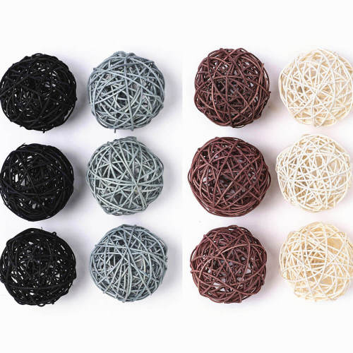 Large Wicker Rattan Balls | Decorative Balls for Bowls, Vase Filler, 3.5 Inch, Set of 12