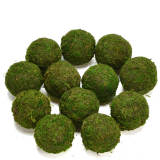Decorative Ball Natural Green Moss Ball Handmade, 3.5 Inch, Set of 6