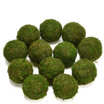 Decorative Ball Natural Green Moss Ball Handmade, 3.5 Inch, Set of 6