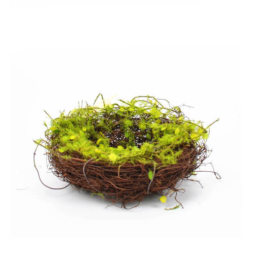 Bird Nest with Faux Moss, Twig Bird Nests Decor for Arts and Crafts, 5 Inch