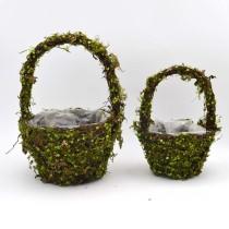 Set of 2   Fake Moss Basket Wedding Decor - 13Inch Tall