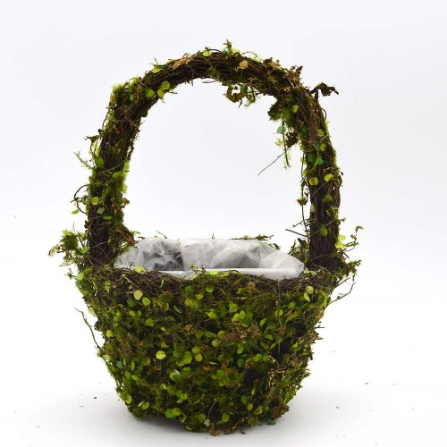 Set of 2 | Fake Moss Basket Wedding Decor - 13Inch Tall