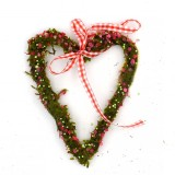 Heart Door Wreath with Pink Ribbon Decor