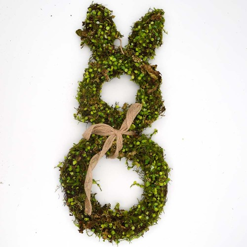Large Moss Bunny Rabbit Wreath, Easter Springtime Twig Wreath for Country Farmhouse